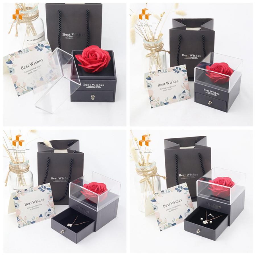 ارتفع الاصطناعي زهرة مجوهرات مربع رومانسية عيد الحب عيد الأم هدية الإبداعية هدية روز الصابون زهرة مجوهرات مربع هدية التفاف R4025
