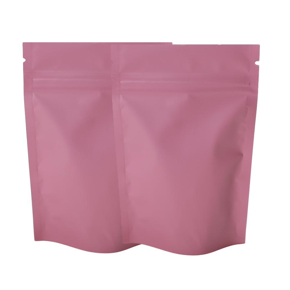 """8.5x13cm (3.25x5 """") Borsa di imballaggio Ziplock a Ziplock a colori rosa opaco Mylar Alluminio Stail Stand Up Pouch per Food Power Party Storage Bag Sacchetto 201021"""