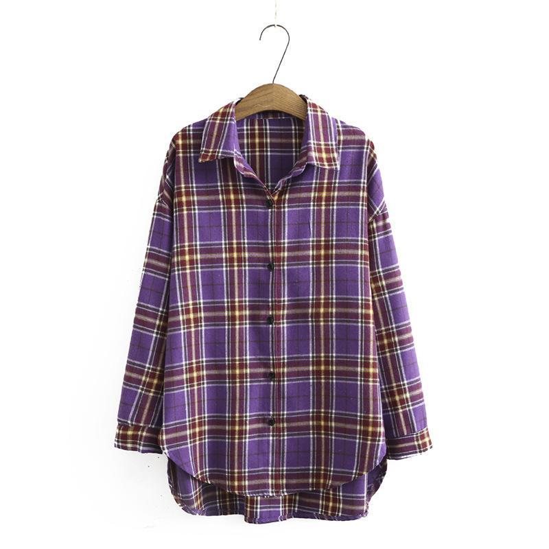 Größe XL-4XL Plus Damen Bluse Schach Die Linie Topos Big Spring Long Sleeve Pullover Eqti