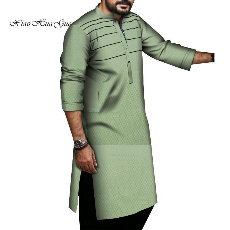 Camisas casuales para hombres Camisa africana para hombres O-cuello Dashiki Vestido de manga larga Impreso Patchwork Macho Causal Fiesta Boda WINGS1318