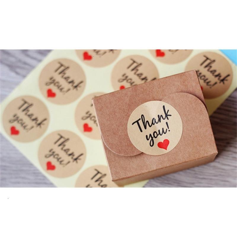Fabrik-Preis-Tags 60 Stück Buchstabe danke Papier Selbstklebende Liebes-Aufkleber Kraft-Label-Aufkleber für Candy Boxes DIY HAN