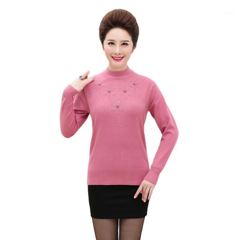 Женские свитера женские свитер с длинным рукавом вязаные 2021 осень зима цветок пуловеры повседневные свободные женские движения вершины P801