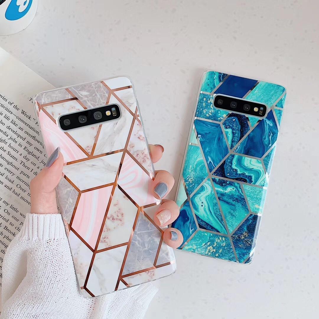 Геометрические мраморные блестящие гальванические случаи для Samsung S10E S10 PLUS S9 S9 PLUS S8 PLUS A40 A50 A70 Note 10 8 9 Чехол для телефона мягкая задняя крышка
