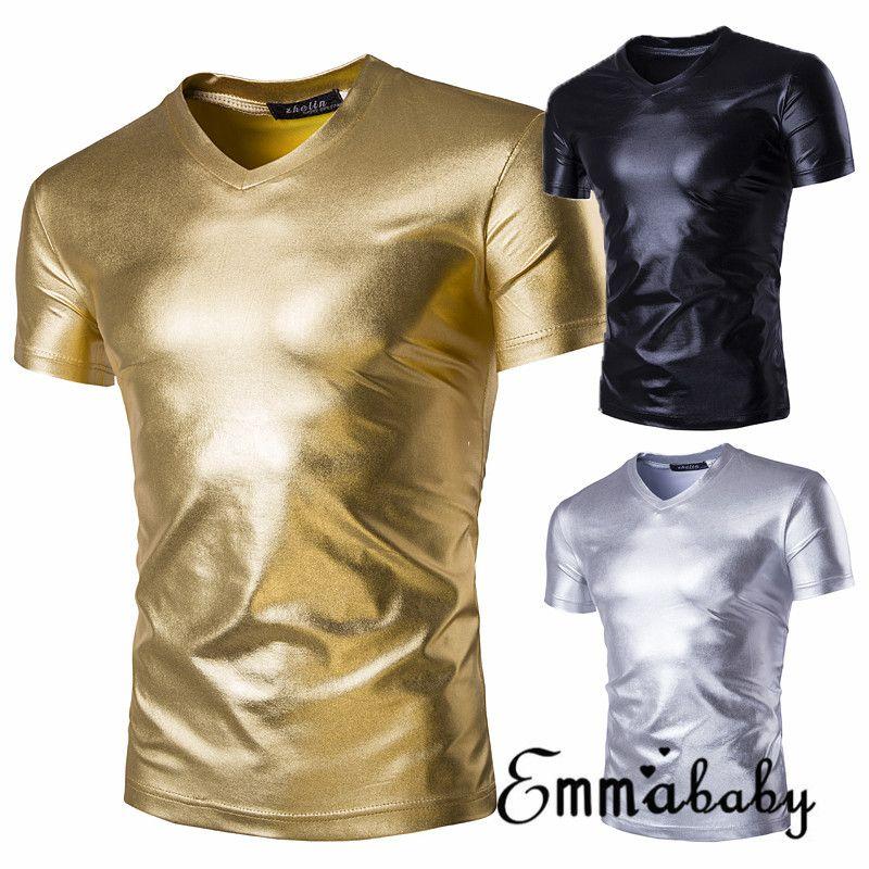 T-shirt metallica verniciata in oro lucido Uomini Casual scollo a V Uomo T-Shirt Night Club T Shirt Slim Hip Hop Tee Shirt Plus Size 2XL