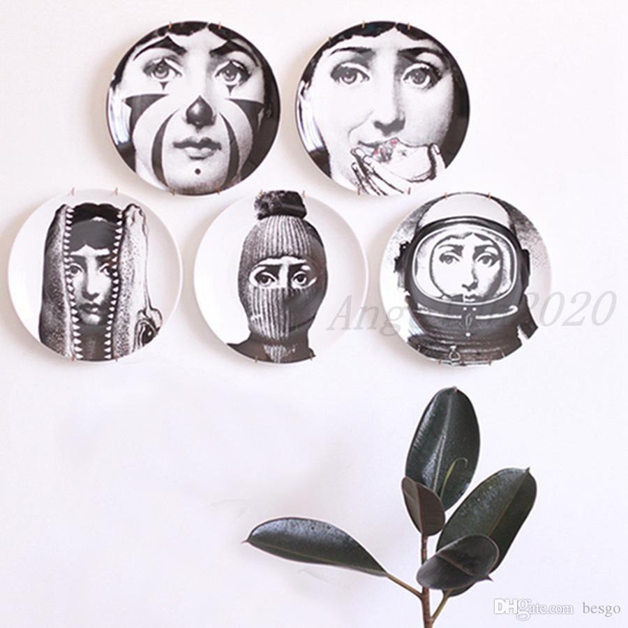 Retro Home Wanddekoration Hängen Runde Keramik Gedruckte Porträtplatten Durable Coffee Shop Home Wanddekor 8 Zoll Teller DH0728-3 T03
