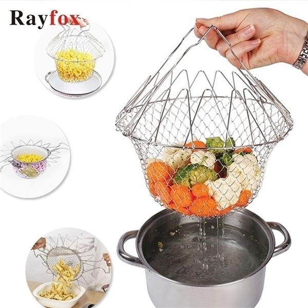 Accessoires de cuisine en acier inoxydable Outils de cuisine pliable fruit légumes de lavage Panier à la vapeur Gadget de cuisine créative Cuisine Cuisine