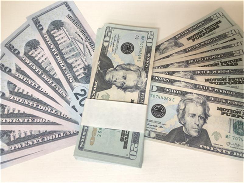 Hot Shorit Simulation USD Поддельные банкноты Игрушки Игрушки и телевизионные Реквизиты Бар реквизит практики банкноты игры 20