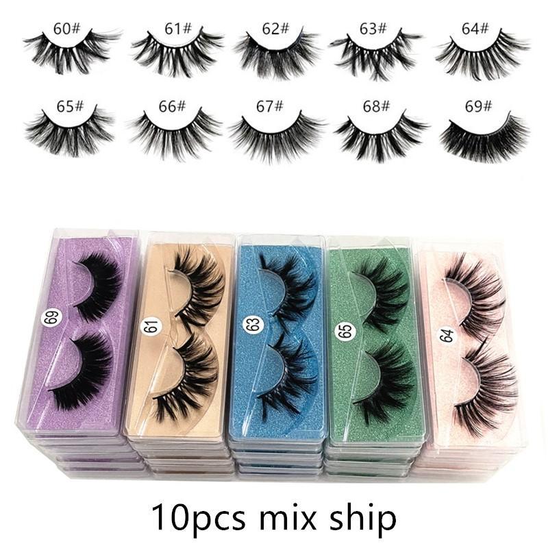 20mm 3d Mink eyelash 60~69# False Eyelash Soft Natural Thick 3d mink HAIR false eyelash natural Extension 3d Eyelashes free ship