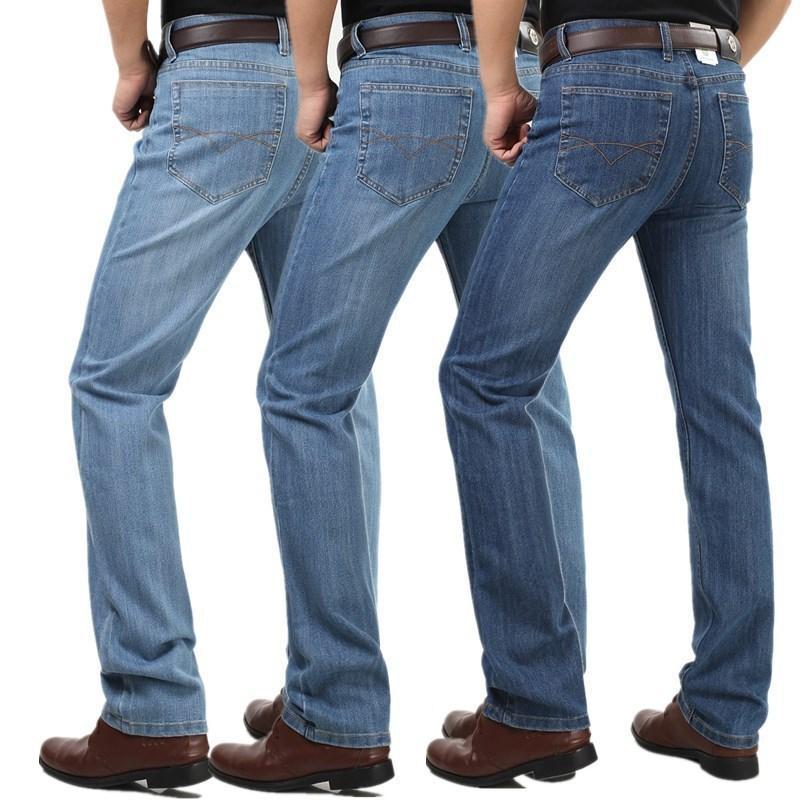 Outono / inverno 2020 jeans grossos meia idade reta cintura alta calça elástica dos homens soltos