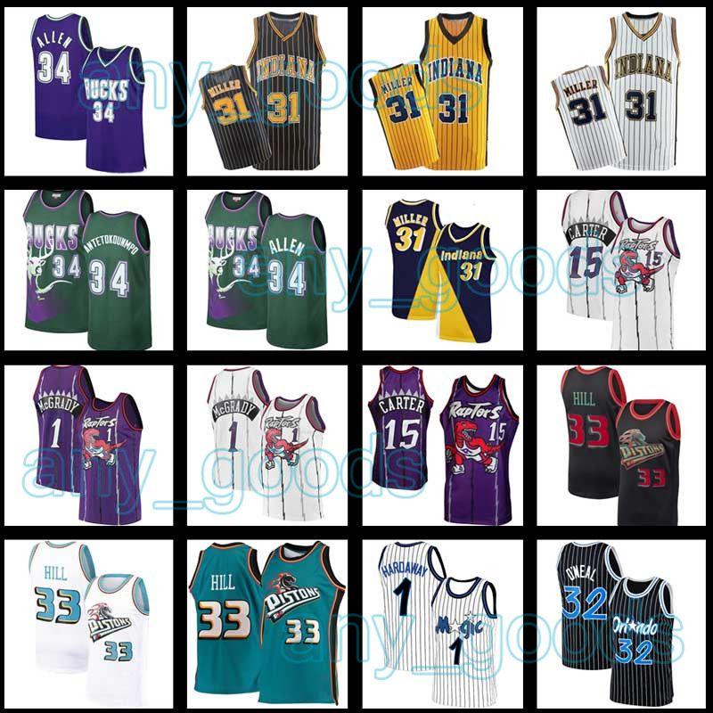 Hill 33 Grant DetroitPistonsIndianaPacteurOrlandoMagic Reggie Shaquille Miller Carter Penny Jersey Hardaway O'Neal