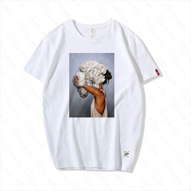 Sexy Mode Flowers T-shirt Frauen Kawaii Harajuku Ästhetische Streetwear 100% Baumwolle Casual Kurzarm Plus Größe T-Shirt Femme