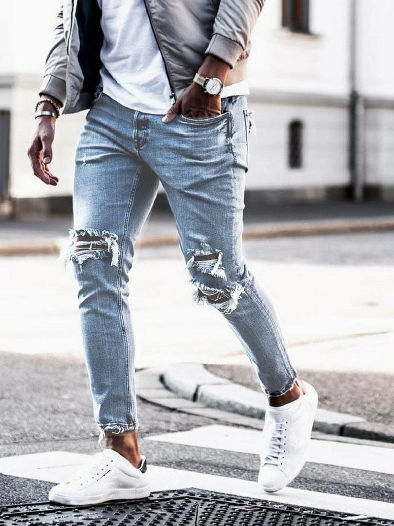 Nuovi uomini NY Strappato Jeans Hole Matita Cowboy Pants Hip Hop Streetwear Streetwear Biker Denim Pantaloni 2021
