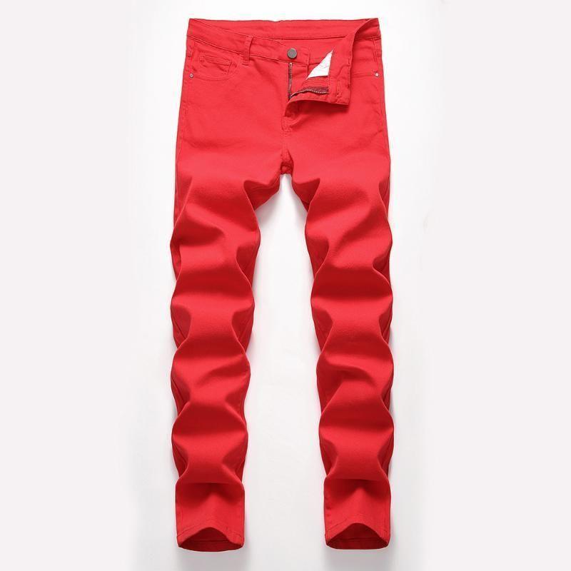 Moda Erkek Kot Tasarlanmış Düz Slim Fit Denim Jeans Pantolon Rahat Sıska Pantolon Kırmızı Sarı Erkek Streetwear Pantolon1