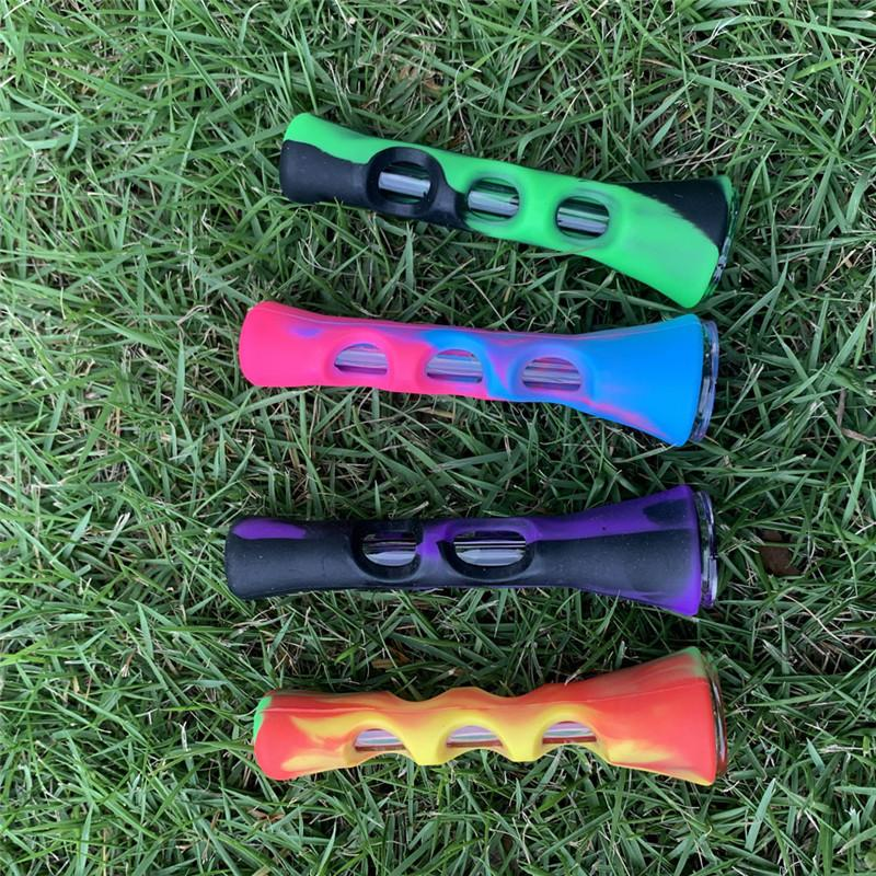 Silicone Glass Smoking Herb Pipe 87MM Hitter Dugout Colorful Tobacco Cigarette Hand Spoon Pipes Smoke Accessories