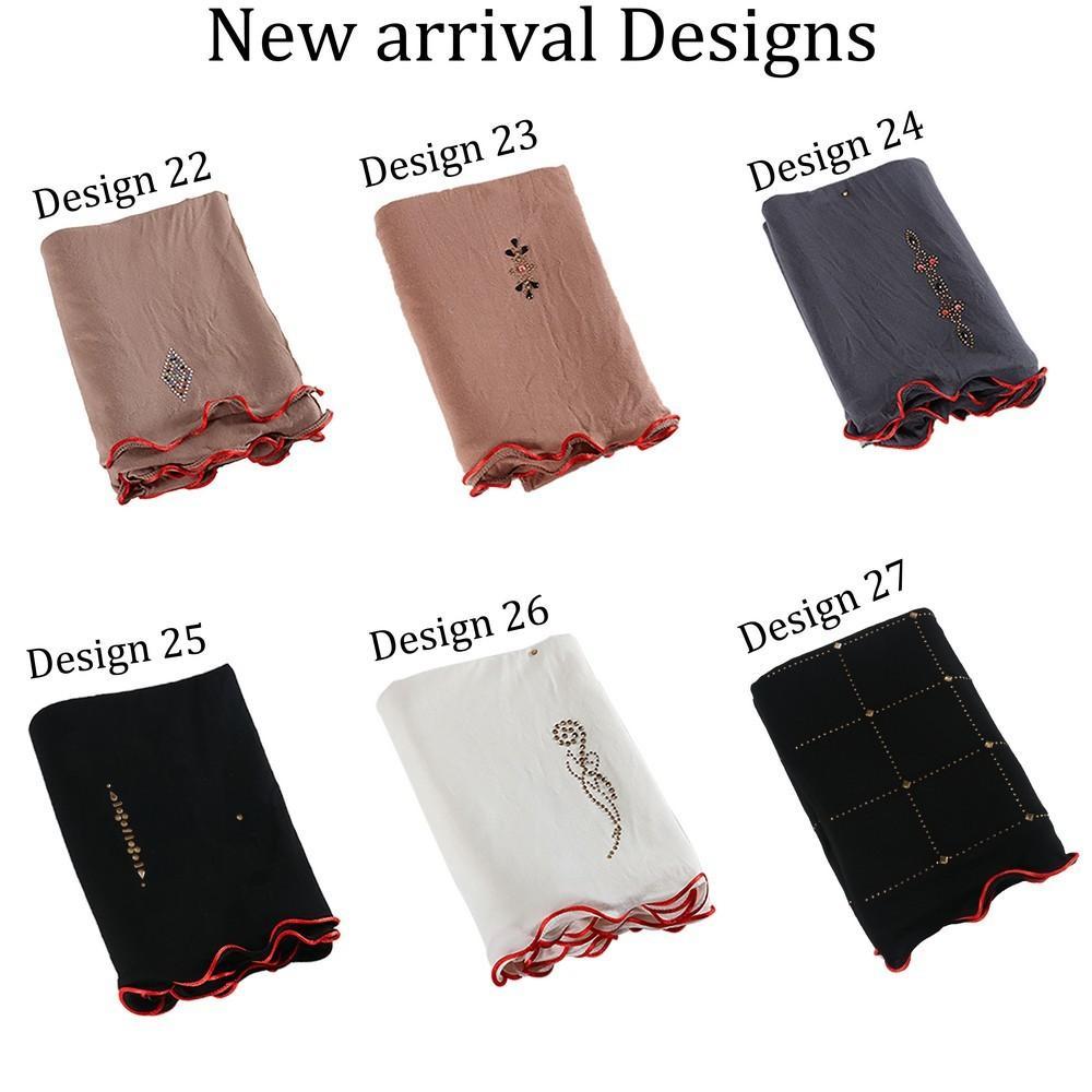 2 líneas rojas Diamond Jersey Hijab Scarf con diseño de mezcla de alta calidad Pearlrhinestone largo mantón largo para Muslim Fashion F1215