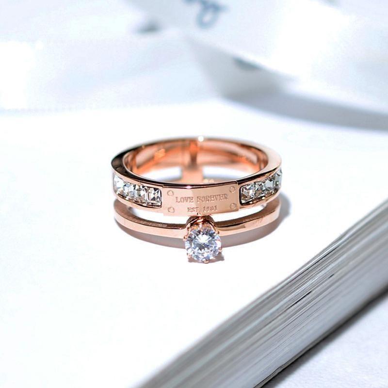Anelli strass per le donne acciaio inox in acciaio inox rosa amore lettera anelli femmina wedding engagement jewelry1