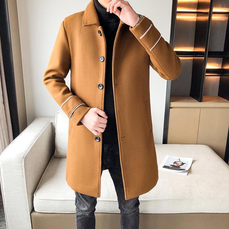 남성 양모 혼합 2021 남자 캐주얼 중간 롱 블렌드 코트 윈드 브레이커 가을 겨울 패션 영국 스타일 솔리드 컬러 슬림 트렌치 JACKE