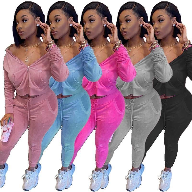 Ladies Casual Velvet Sets Fashion Trend Long Sleeve Cardigan Zipper Hooded Tops Pencil Pants Suits Designer Female Autumn New Tracksuits