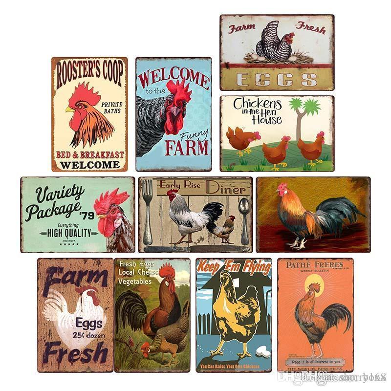 2021 Funny Conception Poulet Plaque Signes Vintage Metal Tin Signes Affiche murale Décalque Plaque Peinture Bar Ferme Ferme Accueil Décor Mur Art 30 * 20 cm