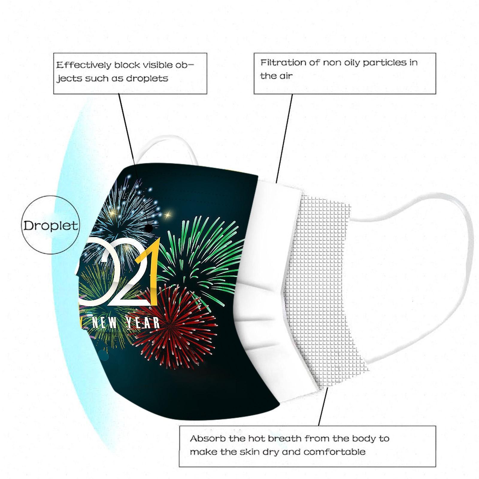 Buon anno monouso faccia a 3 maschere a 3 strati stampa stampa antipolvere antipolvere respirabile decorazione della partita della bocca della bocca di progettista