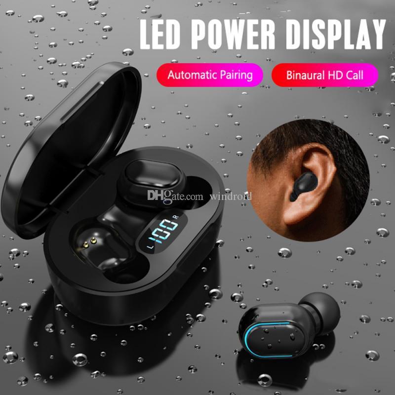 E7S Mini TWS Auriculares inalámbricos auriculares HIFI SOUND BLUETOOTH 5.0 Con DUAL MIC LED Pantalla digital Auriculares Automóviles A7s Actualizar colores
