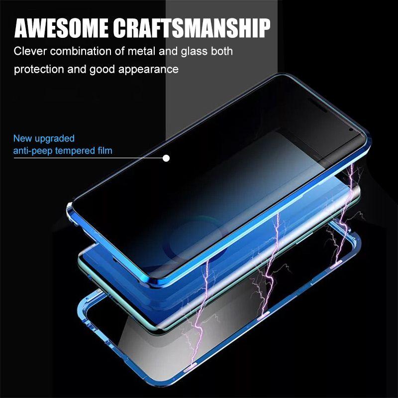 Samsung Galaxy S8 S9 S10 Plus S20 Ultra Anti-Spy 360 보호 자석 케이스를위한 자기 개인 정보 보호 유리 케이스 아이폰 12 ProMax