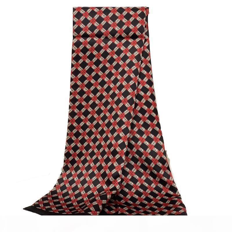 Mann 100% reine Seideschal Mens Seidensatin Schals Doppelschicht Druck Muster Halstuch für Geschäftsgeschenk