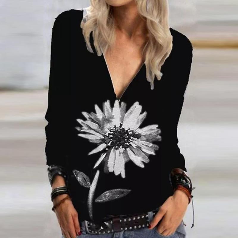 Casual floral impreso camiseta en V con cremallera pullover tops camisas de manga larga Mujer Top Top Vintage Plus Tamaño 3xl Otoño Mujer camisetas