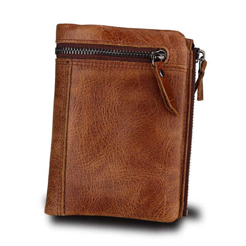 2020 Wallet 100% Hombre Hombre Genuino Ocultar de Vintage Portomonee Cuzdan Monedero corto monedero Tarjeta Nueva Tarjeta 175U