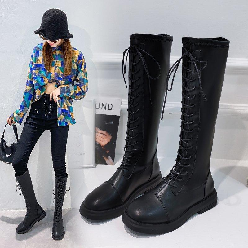 Women's Boots Snow Boots Motorcycle Winter Heighten Knee-high Lace-up Casual Shoes Women's Shoes