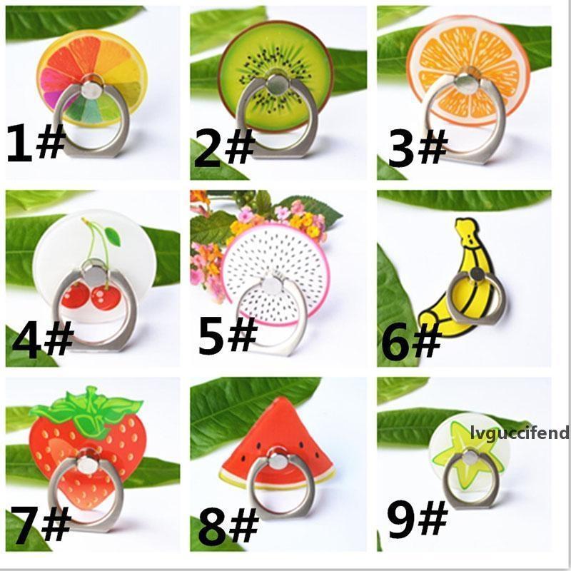 360 Degree Frutas dedo anelar Smartphone Stand Holder Celular Stand Holder para o iPhone Acrílico Todos Perca