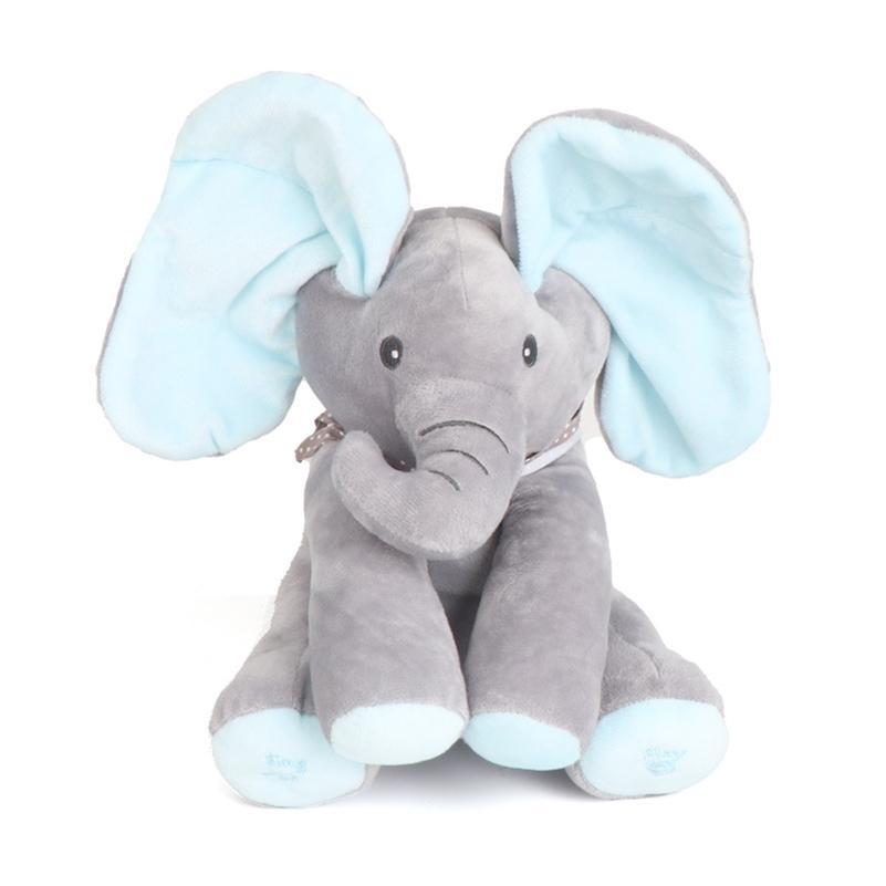 Nascondi e cerca il gatto calmante bambola elefante cane coniglio peluche giocattolo 30cm peekaboo elefante giocattolo orecchie muove musica bambino bambino animale giocattoli carini 201215