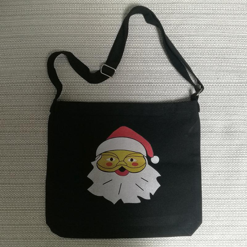 Lienzo bolso negro mano hombro bolsa de regalo santa hombres comprador chicas claus chicos navidad asas fendx