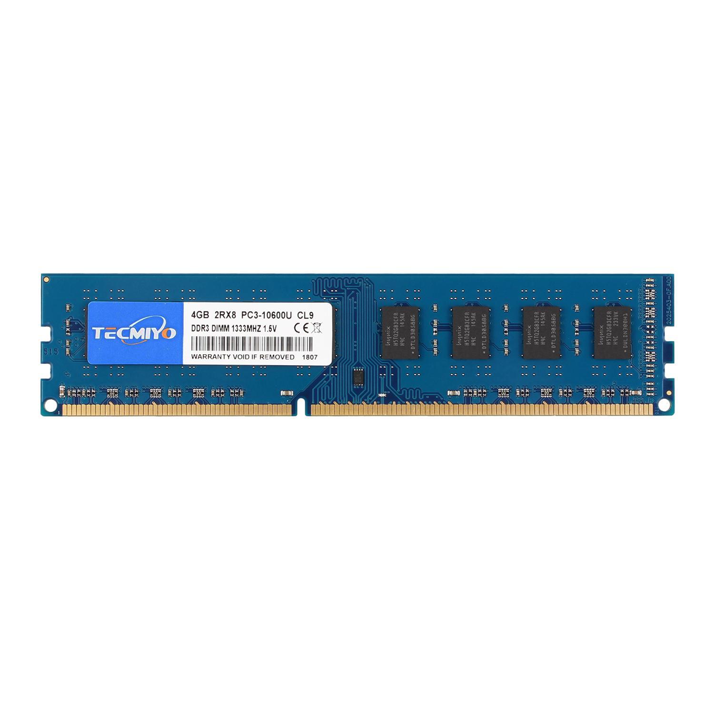 TECMIYO 4GB DDR3 1333MHz PC3-10600 PC3-10600U Non ECC Unbuffered 1.5V CL9 2RX8 Dual Rank 240 Pin UDIMM Desktop Memory Ram Module