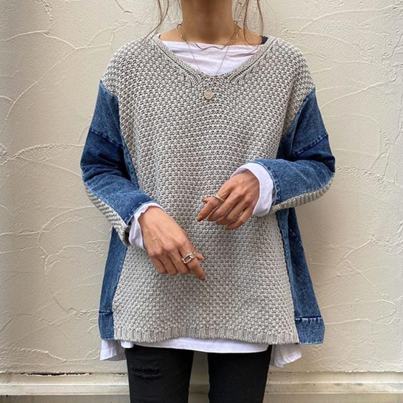 Moda Örme Üst Chic Patchwork Kadınlar Sonbahar Kış Giysileri Uzun Kollu Kazak Jumper Harajuku Bayanlar Rahat Kazak