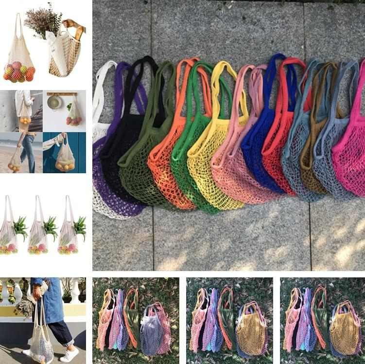 Compras Saco de compras REUSEBLE Shopper Tote Net Grande tamanho de malha de malha tecida sacos de algodão portáteis sacos portáteis saco de armazenamento em casa 9080