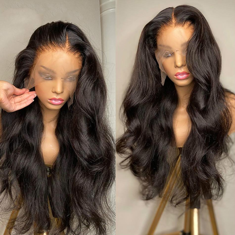 Vücut Dalga 13x4 Ön Peruk Öncesi Pretted Bebek Saç Ile Brezilyalı İnsan Saç Uzun Dantel Frontal Peruk Siyah Kadınlar Için