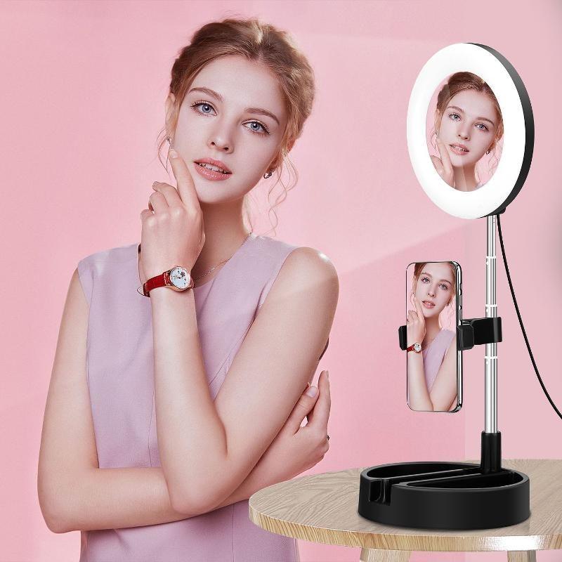 Teste flash Led Makeup Mirror Specchio Light Telefono cellulare Live USB Ajustment Ring Lamp Table Lights