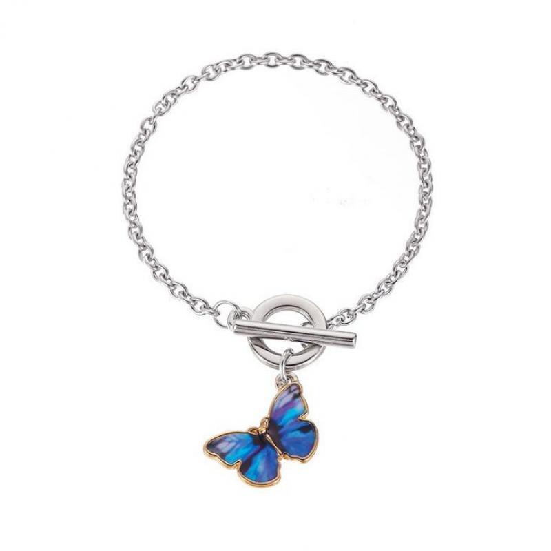 Heißer Verkauf Blaue Persönlichkeit Einfache Farbe Malerei Schmetterling Armband Silber Legierung Womens Armband Geburtstagsgeschenk Schmuck Großhandel