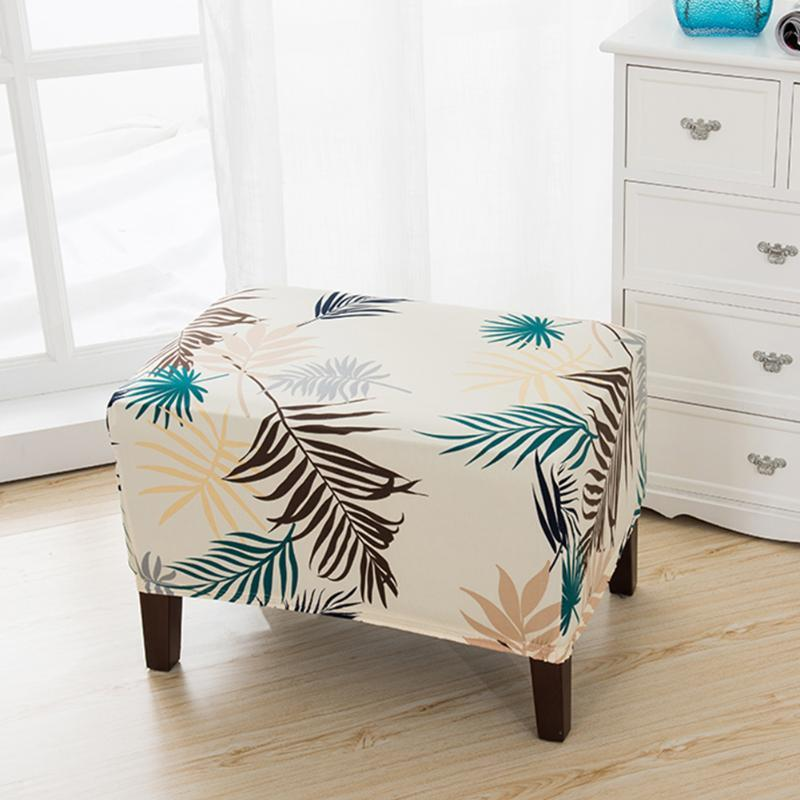 Sitz elastische polyester verlässt gedruckt bar schützer staubdichter hause stuhl abdeckung weiche dekoration square stühle abnehmbares schlafzimmer