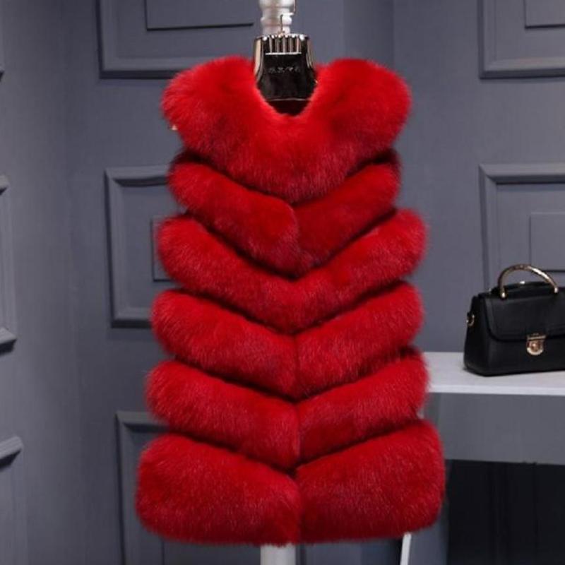 Mulheres Faux Faux Vestida De Alta Qualidade Mulheres Vests Vermelho Inverno Grosso Moda Quente Casaco Casaco Jaqueta Gilet Feminino W1975