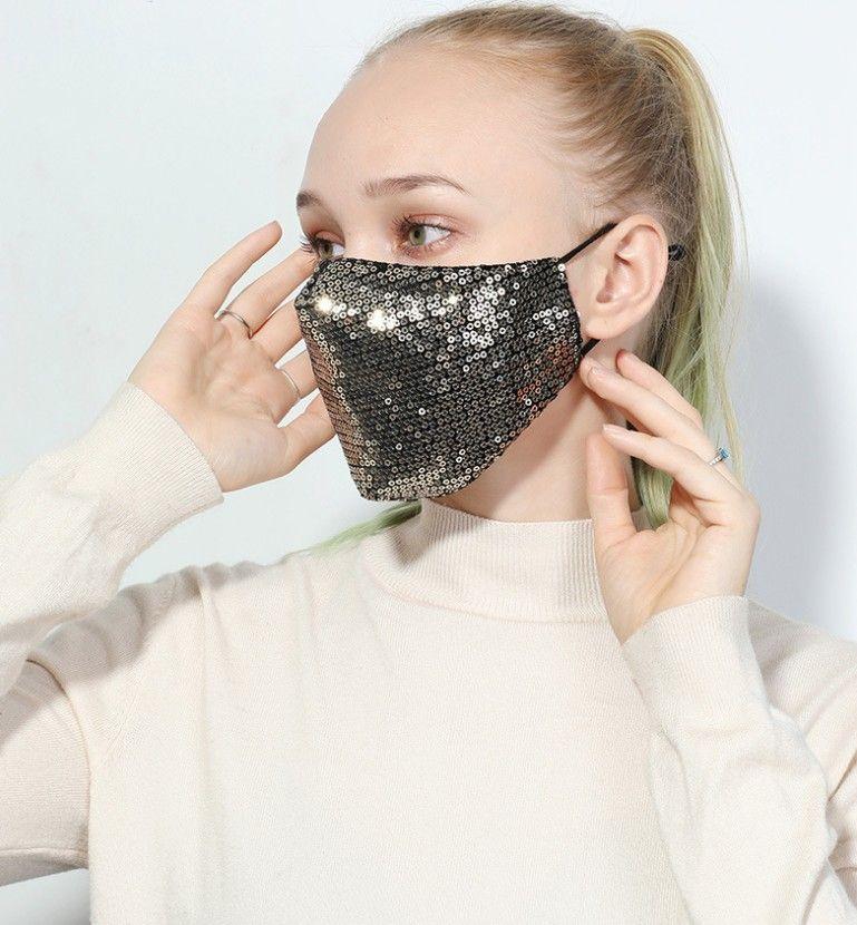 Fashion face mask Washable Reusable Mask PM2.5 Face Care Shield Sun Color Gold Elbow Sequins Shiny Face Cover Mount Masks Anti-dust DWD3266