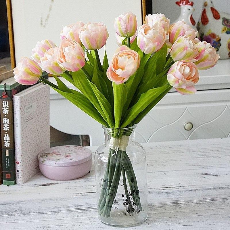 6 قطع / باقة الفرنسية الزنبق الاصطناعي زهرة ل حفل زفاف المنزل حديقة الديكور الحرير tulip الأيدي القابضة الزهور وهمية
