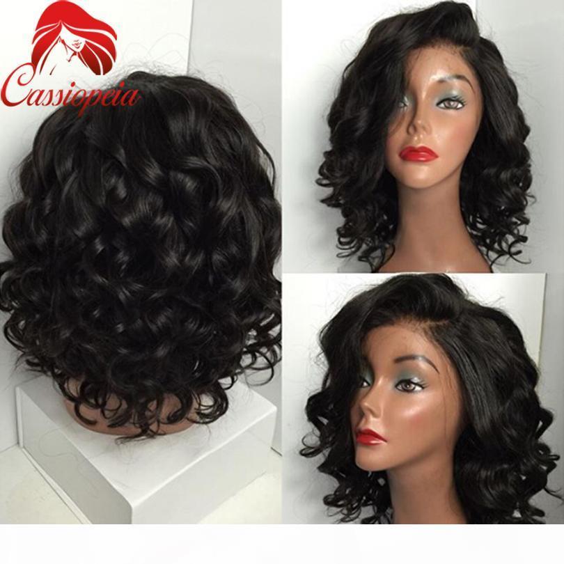 Parrucche piene del merletto Glueless onda profonda per le donne nere non trasformate peruviane peruviane capelli profonde del corpo profondo wave piena parrucche in pizzo in magazzino