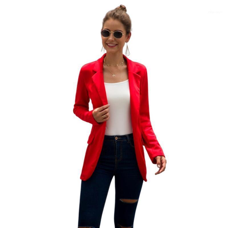 Плюс Размер S-3XL Женщины Осень Сплошной Повседневная Тонкий С Длинным Рукавом Блейзеры Офис Дамы Бизнес Воротник Воротника Мода Мода SJ4346M1