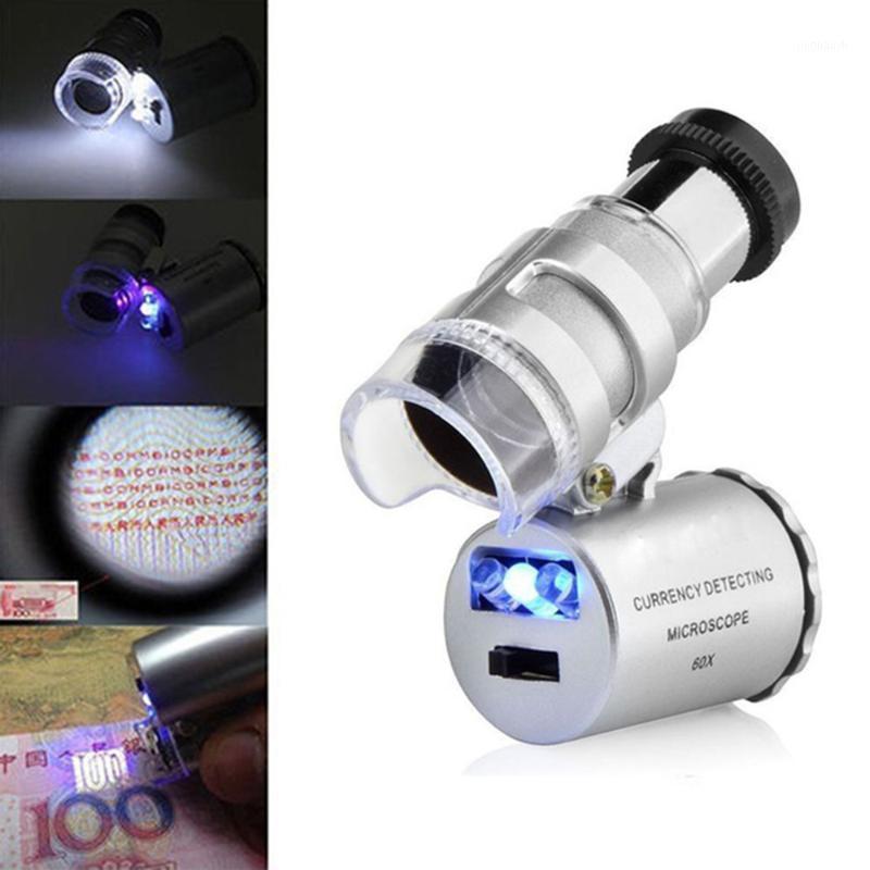 60x mini المجهر مجوهرات العدسة عدسة مضيئة المكبر الزجاج 3 الصمام مع ضوء الأشعة فوق البنفسجية # 201 201