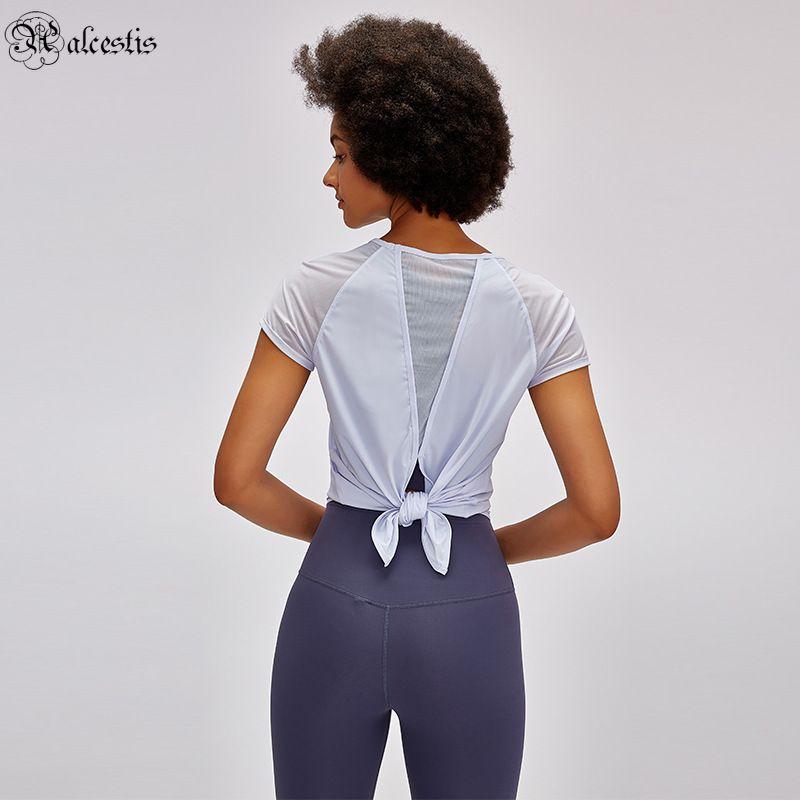 Verão cor sólida de volta cintura gravata yoga t-shirt de mangas curtas t-shirt luz respirável humisture wicking esportes aptidão top