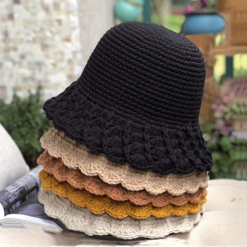 Handmade Crochet Cappello in lana Coreano a maglia Cappello a maglia Giapponese Bordo Piccolo Bordo Solido Pescatore Fisherman Wild Wild