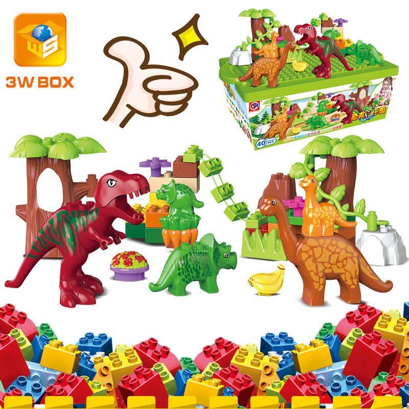 3WBOX Dino Valley Building Blocks Sets Large Particles Animal Dinosaur World Model Toys Bricks Compatible Duplo Christmas gift Q1214