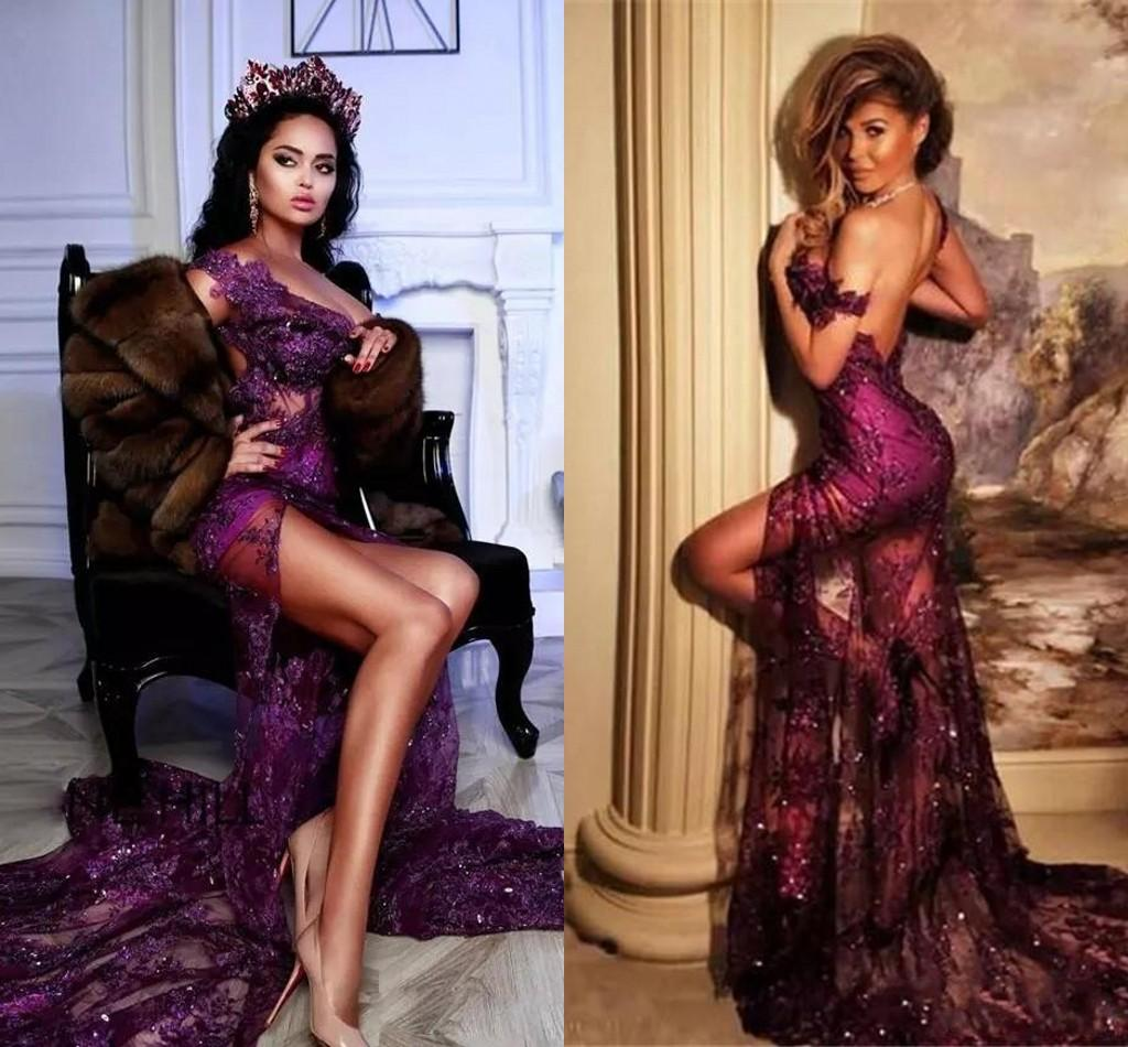 Grape Purple Evening Dresses Sexy Side Slit Lace Sequins Mermaid Prom Gowns 2021 Arabic Aso Ebi Off The Shoulder Formal Party Dress AL8455